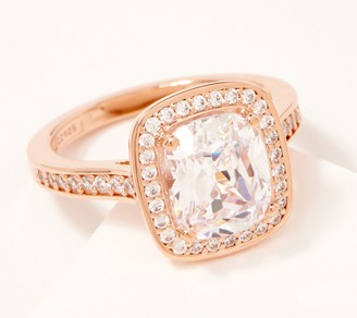 """Diamonique 6.10 cttw Cushion Cut """"The Courtney"""" Ring, Sterling"""