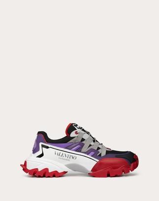 Valentino Uomo Climbers Sneaker In Leather And Fabric Man Purple Calfskin 100% 41.5