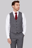 Moss Bros Tailored Fit Italian Grey Prince of Wales Check Waistcoat