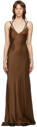Haider Ackermann Brown Silk Dali Long Dress
