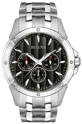 Bulova Men's Dress Silver Stainless-Steel Quartz Watch 96C107