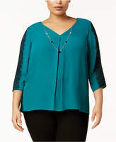 NY Collection Plus Size Lace-Trim Necklace Top