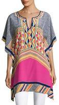 Trina Turk Theodora Silk Multipattern Tunic, Multicolor