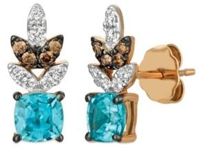 LeVian Le Vian Blue Zircon (1 1/5 ct.t.w.), Nude Diamonds (1/6 ct.t.w.), and Chocolate Diamonds (1/10 ct.t.w.) Earrings set in 14k rose gold