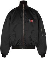 Balenciaga Black logo shell bomber jacket