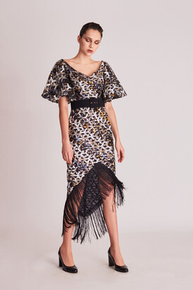 Gatti Nolli by Marwan Wide V-Neck Embellished Fringe Dress