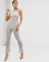 Asos Design DESIGN two-piece crochet high waisted flares in metalic yarn