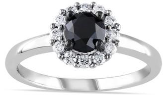 Lovemark 10k White Gold 1 Carat T.W. Black & White Diamond Halo Engagement Ring