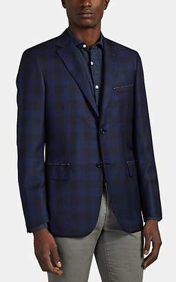 Brioni Men's Ravello Plaid Worsted Wool Two-Button Sportcoat - Navy