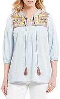 Intro Petites 3/4 Sleeve Mirrored Embroidered Denim Peasant Top