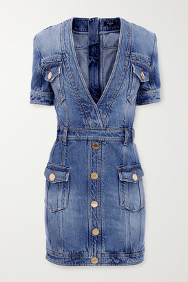 Balmain - Button-embellished Denim Mini Dress - Blue