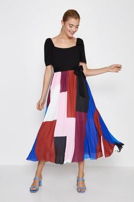 Coast Square Neck Pleated Skirt Midi Dress