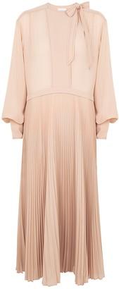 Jonathan Simkhai Nicolette blush pleated midi dress