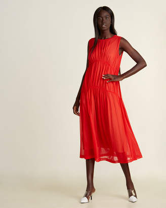 Alysi Shirred Sleeveless Midi Dress