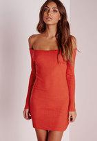 Missguided Off Shoulder Ribbed Knit Dress Red
