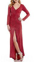Teeze Me V-Neck Long-Sleeve Open-Back Glitter Ruched Long Dress