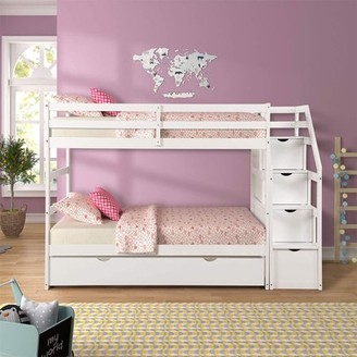 Hommoo Solid Wood Daybeds for Kids, Hardwood Twin Over Twin Trundle Bunk Bed Frame with 3 Storage Drawers