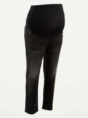 Old Navy Maternity Full Panel Sky-Hi Straight Black Cut-Off Jeans