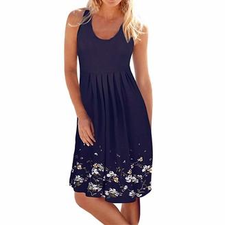 VECDY Casual Boho Women's Dress Summer O-Neck Sleeveless Dress Evening Party Beach Dress Ladies Short Sundress UK 8~16 Size(14