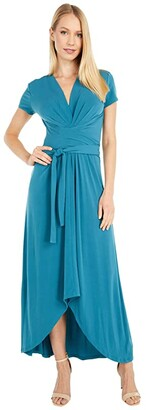 MICHAEL Michael Kors Cap Sleeve Maxi Wrap Dress (Dark Cyan) Women's Dress