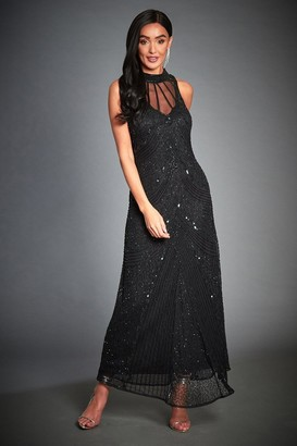 Jywal London EMBELLISHED BLACK HALTER EVENING MAXI DRESS