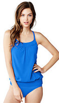 Lands' End Women's Mastectomy Beach Living Blouson Tankini Top-Jade Gingham