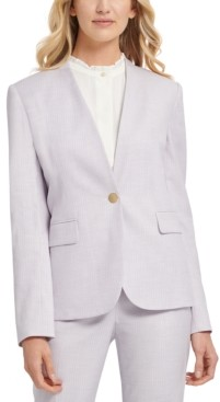 DKNY Petite Striped Collarless One-Button Blazer