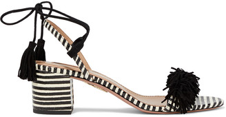 Aquazzura Wild Thing 50 Fringed Suede And Striped Elaphe Sandals
