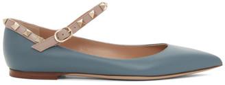 Valentino Blue Garavani Ankle Strap Rockstud Ballerina Flats
