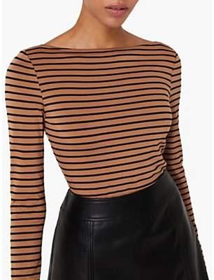 Warehouse Stripe Long Sleeve Slash Neck Top