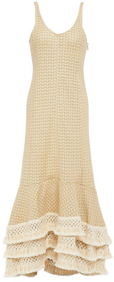 3.1 Phillip Lim Tiered Macrame-trimmed Cotton-blend Midi Dress