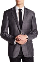 Hart Schaffner Marx Grey Plaid Two Button Notch Lapel Wool Suit Separates Jacket