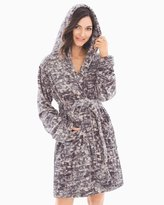 Soma Intimates Short Plush Robe Texture Cool Gray