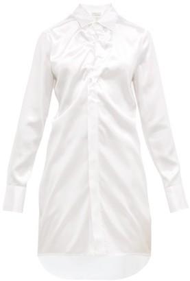 Bottega Veneta Gathered Satin Longline Shirt - Womens - White