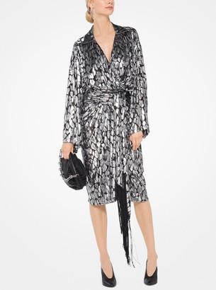 Michael Kors Collection Leopard Metallic Fil Coupe Wrap Dress