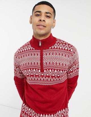 Threadbare christmas fairisle half zip sweater in red