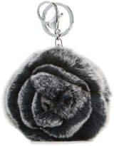 Adrienne Landau Rabbit Fur Rosette Pompom Key Chain, Black/Gray