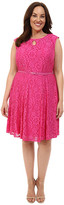 London Times Plus Size Fun Flower Lace Fit and Flare