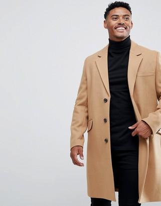 Asos Design DESIGN wool mix overcoat in camel-Tan