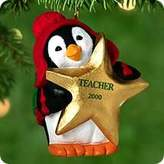 Hallmark Keepsake Christmas Ornament ; Gold Star Teacher Penguin 2000 QX6951