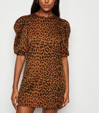 New Look Leopard Print Puff Sleeve Dress