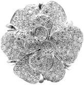 Chanel 18K White Gold Camellia Flower Diamond Ring Size 5.75