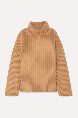 Nanushka Raw Ribbed Wool-blend Turtleneck Sweater - Camel