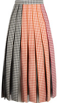 Christopher Kane Pleated Gingham Cotton-twill And Tulle Midi Skirt - IT42