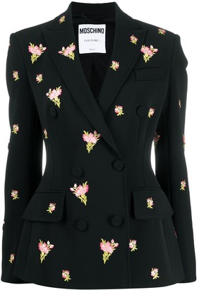 Moschino Floral Embroidery Double-Breasted Blazer