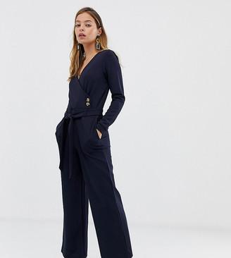 Vero Moda Petite wrap button detail jumpsuit in navy