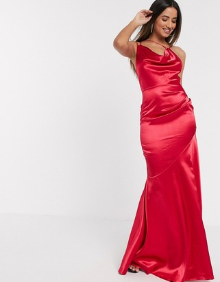 Goddiva cowl neck strappy back maxi dress in pink satin