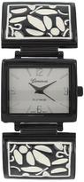 Geneva Platinum Black & White Floral Watch