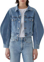 A Gold E Agolde Alik Cropped Denim Jacket with Exaggerated Sleeves