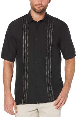 Cubavera Short Sleeve Tuck With Geo Stitching Shirt